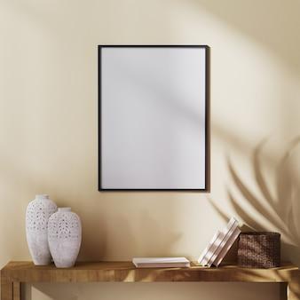 空白のポスターフレームは、ヤシの葉の影と装飾が施された棚、3dレンダリングで薄茶色の壁にモックアップ