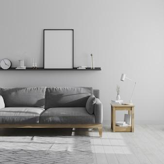 빈 포스터 프레임 회색 거실 인테리어, 스칸디나비아 스타일 거실 인테리어, 회색 소파와 미니멀 룸, 3d 렌더링에서 선반에 조롱