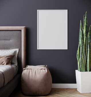 Blank poster frame mockup in modern bedroom interior