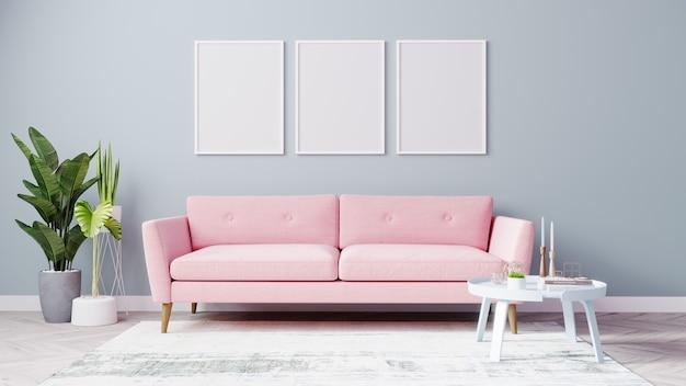 빈 포스터 프레임은 핑크색 소파와 밝은 파란색 벽이있는 밝은 거실에서 모의합니다.