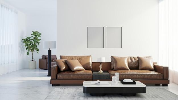 빈 포스터 프레임은 스칸디나비아 스타일의 거실 내부, 현대적인 거실 내부 배경, 갈색 가죽 소파, 3d 렌더링을 조롱합니다.