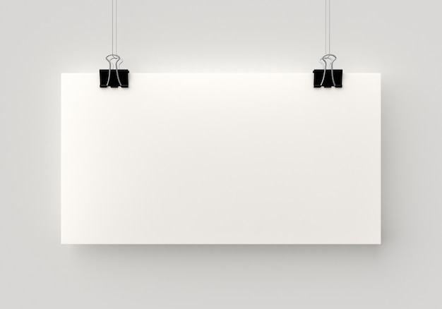 Blank poster hanging by a thread