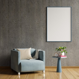 コンクリートの空の壁とモダンなリビングルームのインテリアデザインの空白のポスター。3dレンダリング