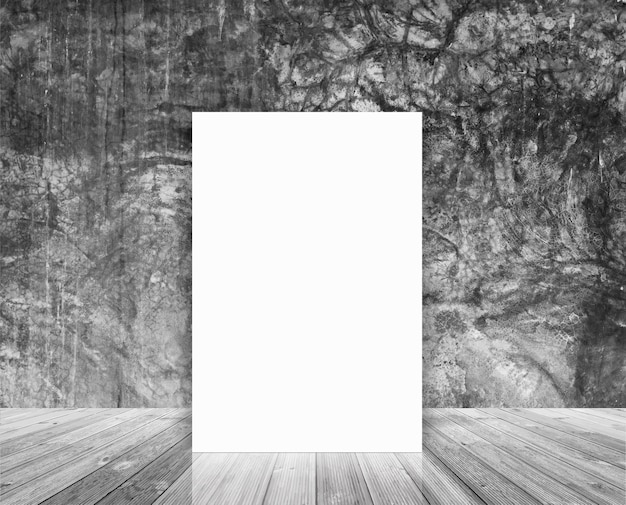 Blank poster in loft wall and wood floor room, template mock up design  workspace concept
