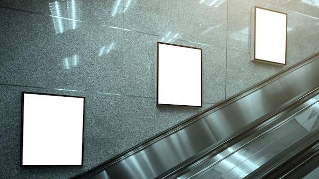 Blank poster mockup in metro station