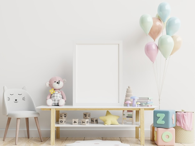 Blank posters in child room interior, posters on empty white wall, 3d rendering