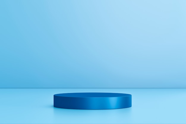 Blank product display on blue studio background with pedestal or podium.