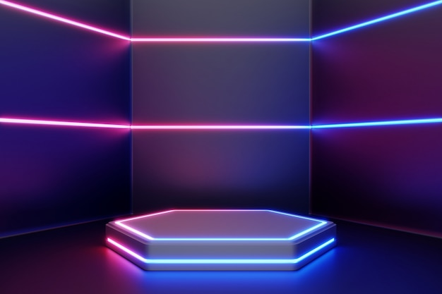 Blank product stand with line neon lights.