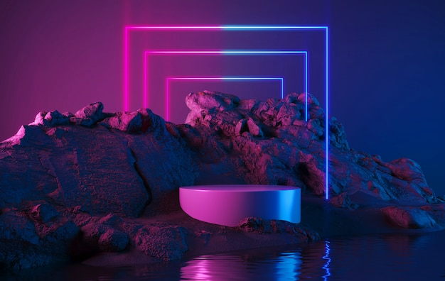 Пустой продуктовый стенд с неоновым светом геометрической формы