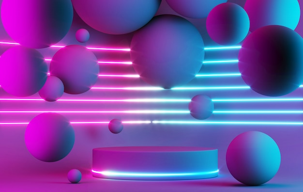 Blank product stand with neon light geometric shape