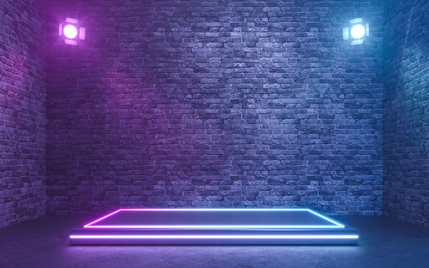Blank product stand with neon lights on brick wall background. 3d rendering