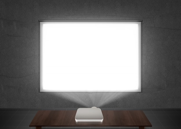 Blank projector screen mockup on the wall Premium Photo