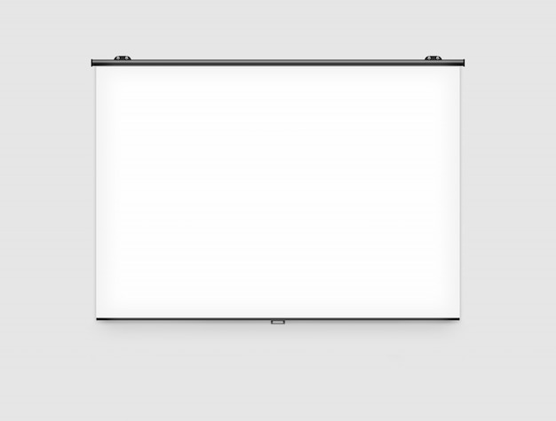 Blank projector screen mockup on the wall