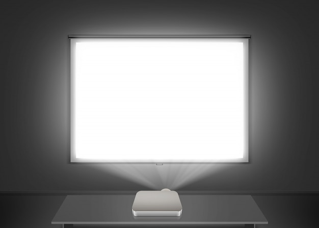 Blank projector screen on the wall