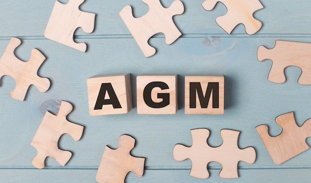 Blank puzzles and wooden cubes with the text agm annual general meeting lie on a light blue background.