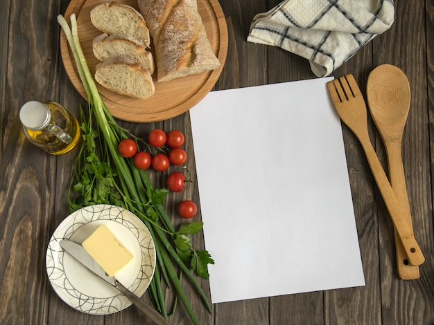 Blank recipe on wood with healthy food ingredients