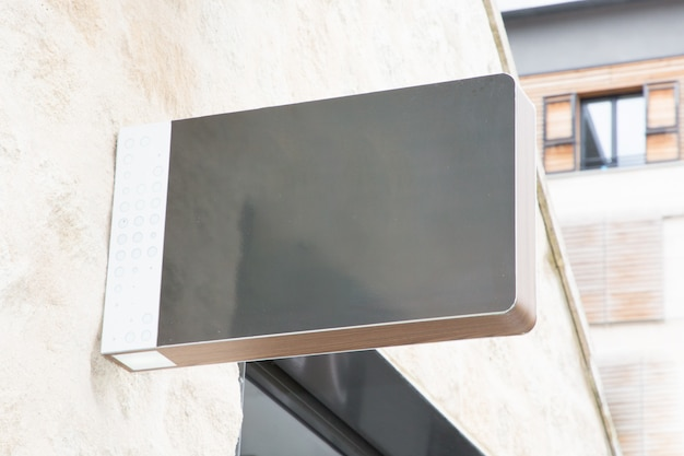 Blank rectangle gray shop sign to receive text or logo