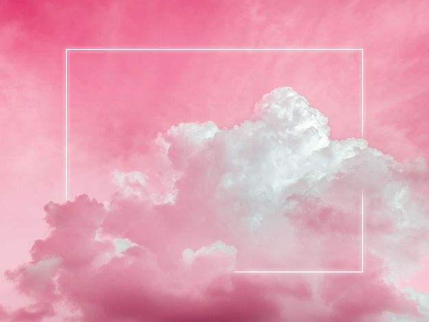 Blank rectangle white glowing light frame on dreamy fluffy cloud with aesthetic red neon sky background. abstract minimal natural luxury background with copy space.