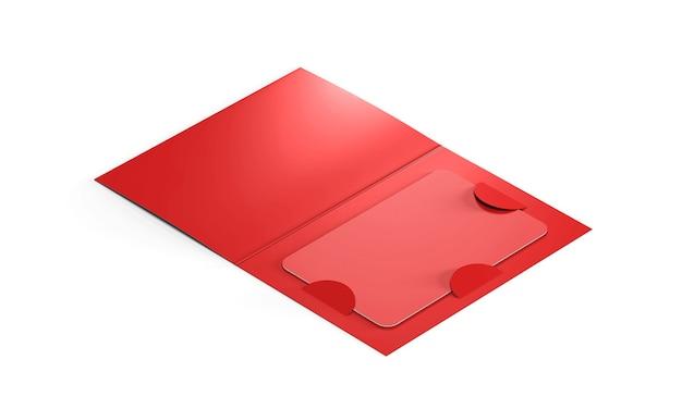 종이 책자 홀더 안에 빈 빨간색 플라스틱 카드. 3d 렌더링.