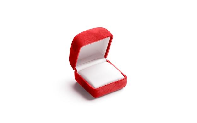 Blank red velvet opened ring box , isolated