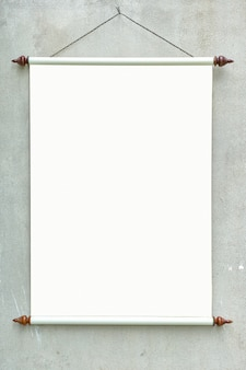Blank retro roll up poster banner hanging on wall for mockup