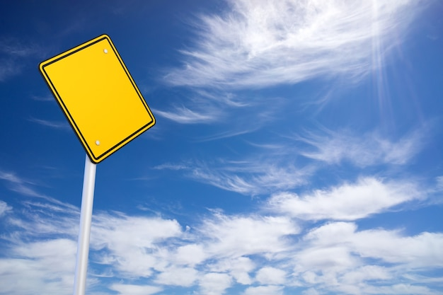 Blank road sign and blue sky background