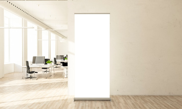 Blank roll up banner in minimal office