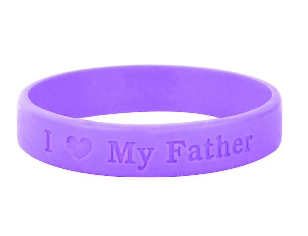 빈 고무 플라스틱 스트레치 팔찌 흰색 배경에 고립입니다. 아버지의 날 상징.