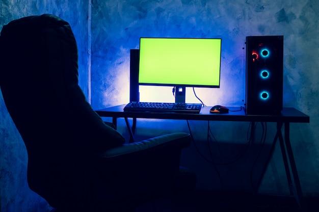 A blank screen computer on a table. e-sport concept.