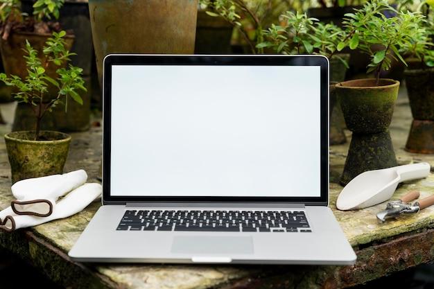 Computer portatile con schermo vuoto in una serra