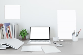 Blank screen laptop Mock up in home workpark with coffee cup and book in home work
