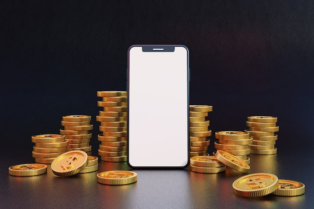 Blank screen mobile phone with golden coins. 3d rendering.
