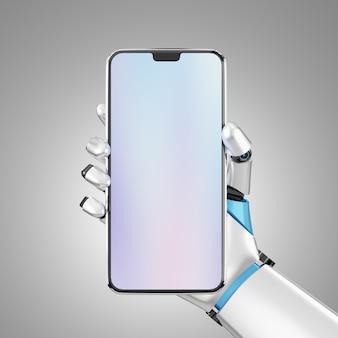 プレゼンテーションのためのロボットハンドによる空白の画面のスマートフォンのモバイルホールド。クリッピングパスのある画像。 3dイラスト画像。