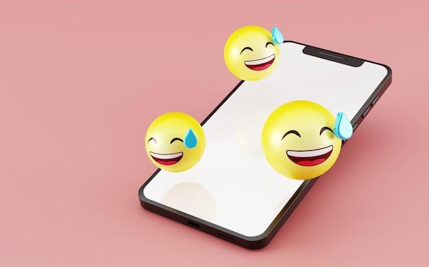 絵文字ソーシャルメディアアイコン3dレンダリングを備えた空白の画面のスマートフォン