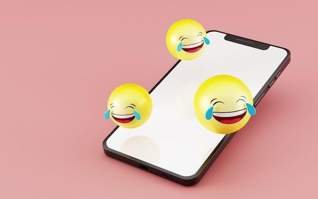 이모티콘 소셜 미디어 아이콘 3d 렌더링 빈 화면 스마트 폰