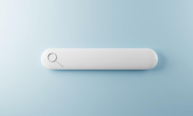 Пустая кнопка панели поиска с увеличительным стеклом 3d-рендеринг