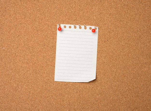 Blank sheet of paper pinned by button on brown cork board, copy space