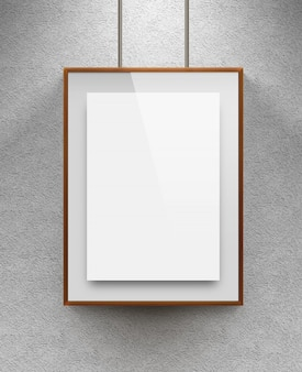 Blank sheet in wood canvas near the textured wall
