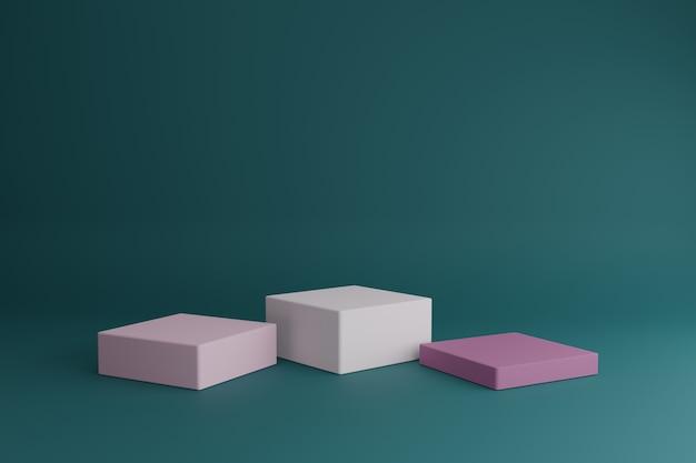 간단한 기하학적 3d 요소가있는 빈 쇼케이스 모형