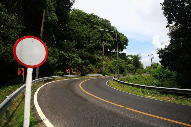 Blank sign of curve uphill street. success milestone concept to reach upper goal