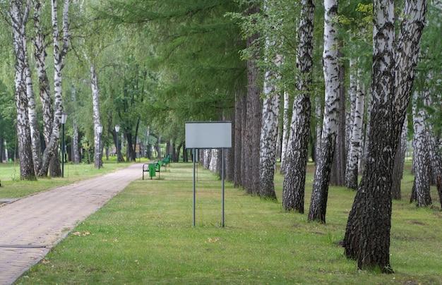 나무 배경에 있는 길 옆에 있는 공원의 빈 표지판