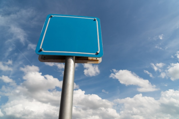 Blank sign with blue sky.
