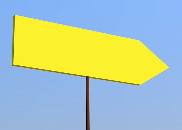 Blank signpost over blue sky. yellow background