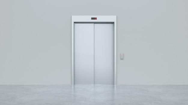 Чистый серебряный закрытый лифт в интерьере офисного этажа, вид спереди