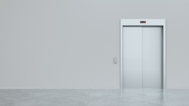 Blank silver closed elevator in office floor interior mock up, front view