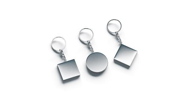 Blank silver key chain  side set view
