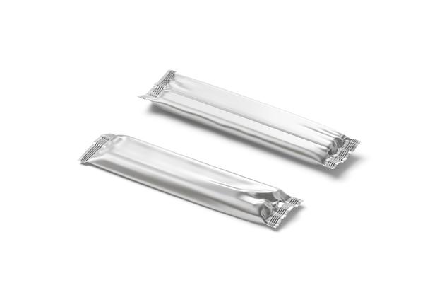 Пустой серебряный прямоугольный макет обертки из фольги для шоколадных батончиков. пустой металлический пакет из фольги.