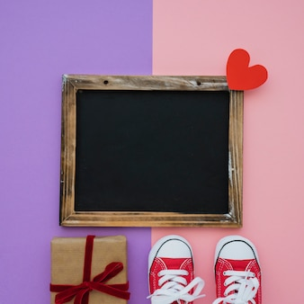Blank slate, shoes and gift for father's day