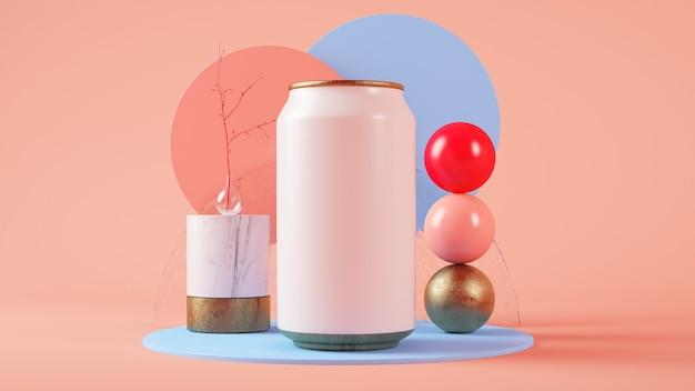 Пустая банка содовой на 3d-рендеринге сюрреалистический набор