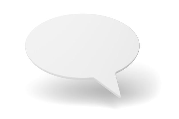 빈 연설 거품 또는 풍선 흰색 표면에 고립. 3d 렌더링